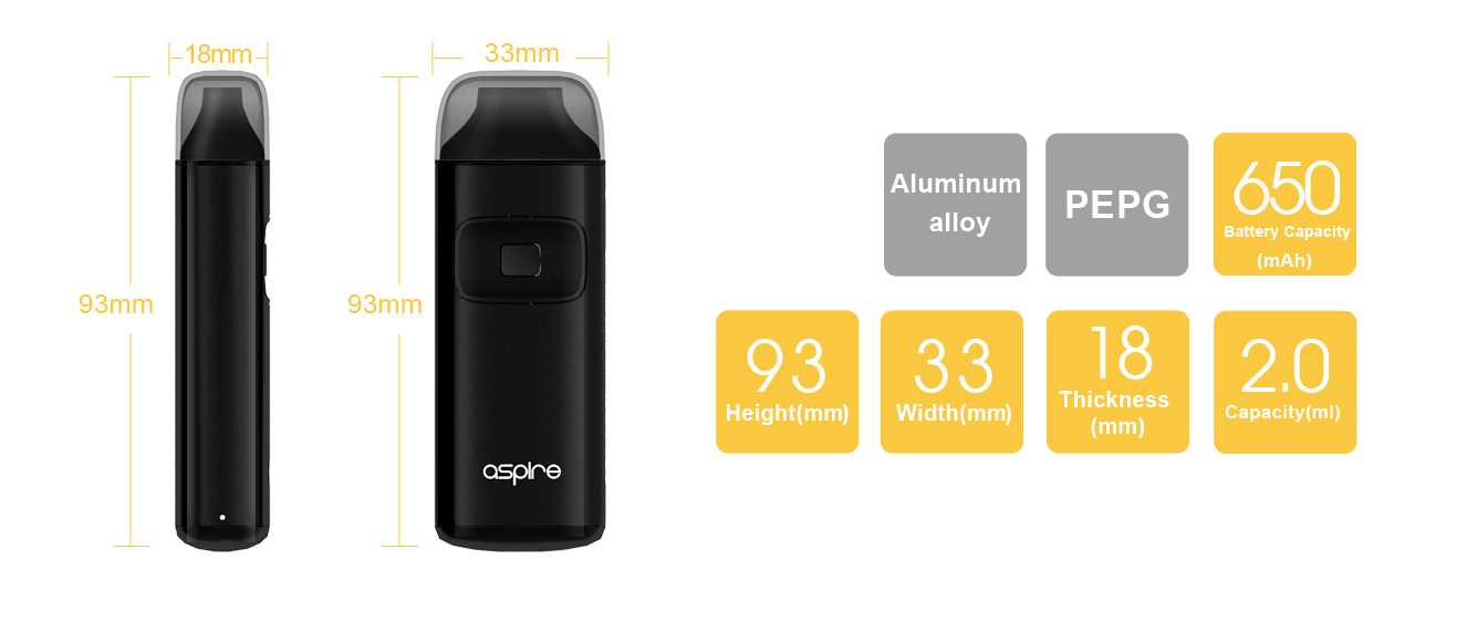 Aspire Breeze Dimensions