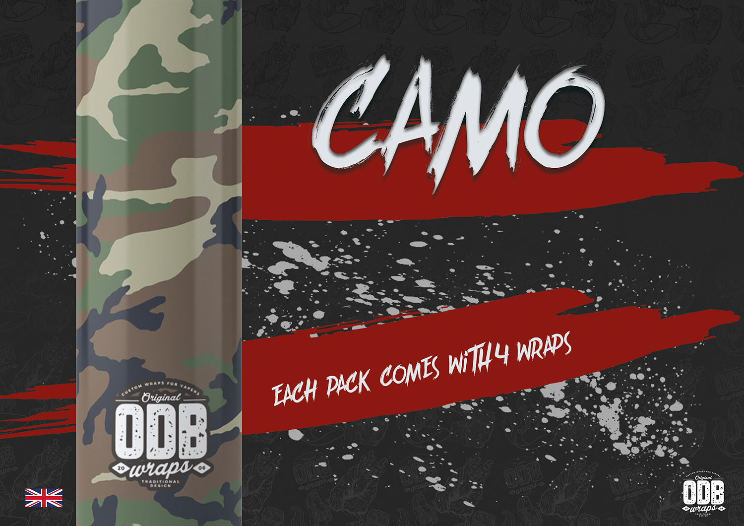 Camo ODB Battery Wraps 4 Pack