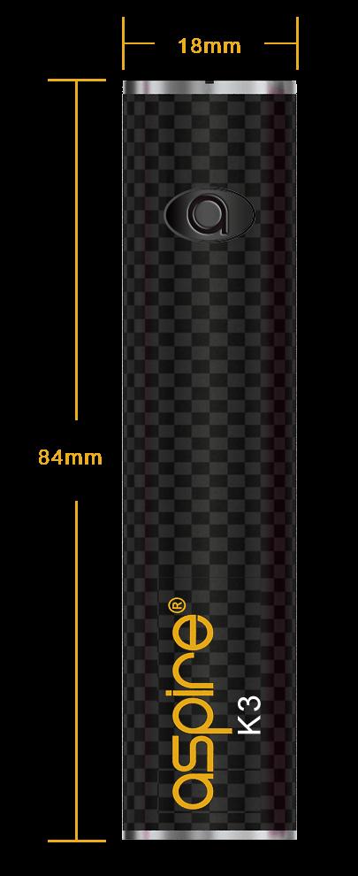 Aspire K3 Starter Kit Battery Dimensions